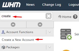 Crear cuenta cPanel en WHM