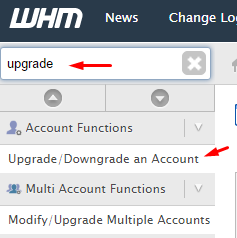 Upgrade / Downgrade WHM